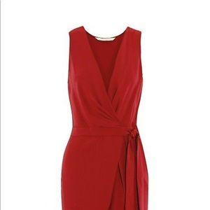 Diane von Furstenberg Red Faux Wrap Jumpsuit